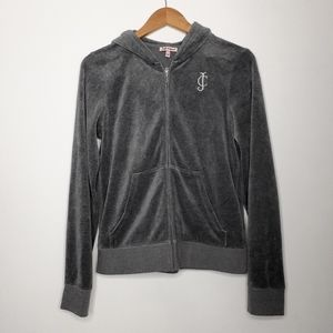 Juicy Couture Gray Velour Zip Up Size Large